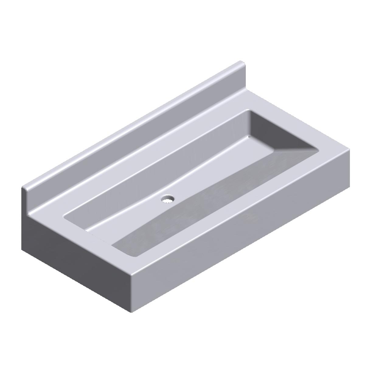Lavabo Personne Mobilité Réduite lavabo collectif - auge pmr de face avec robinetterie sur